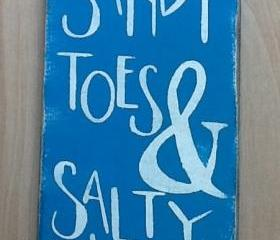 Sandy toes and salty kisses beach sign, primitive, beach sign, ocean sign, family decor, ocean blue