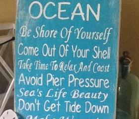 Advice of the Ocean, Beach Sign, Whispers of The Ocean Sign