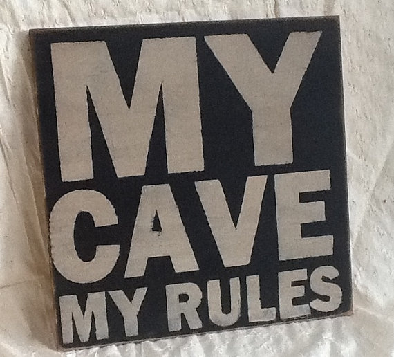 My Cave My Rules Primitive Sign, Home Decor Wood Sign on Luulla